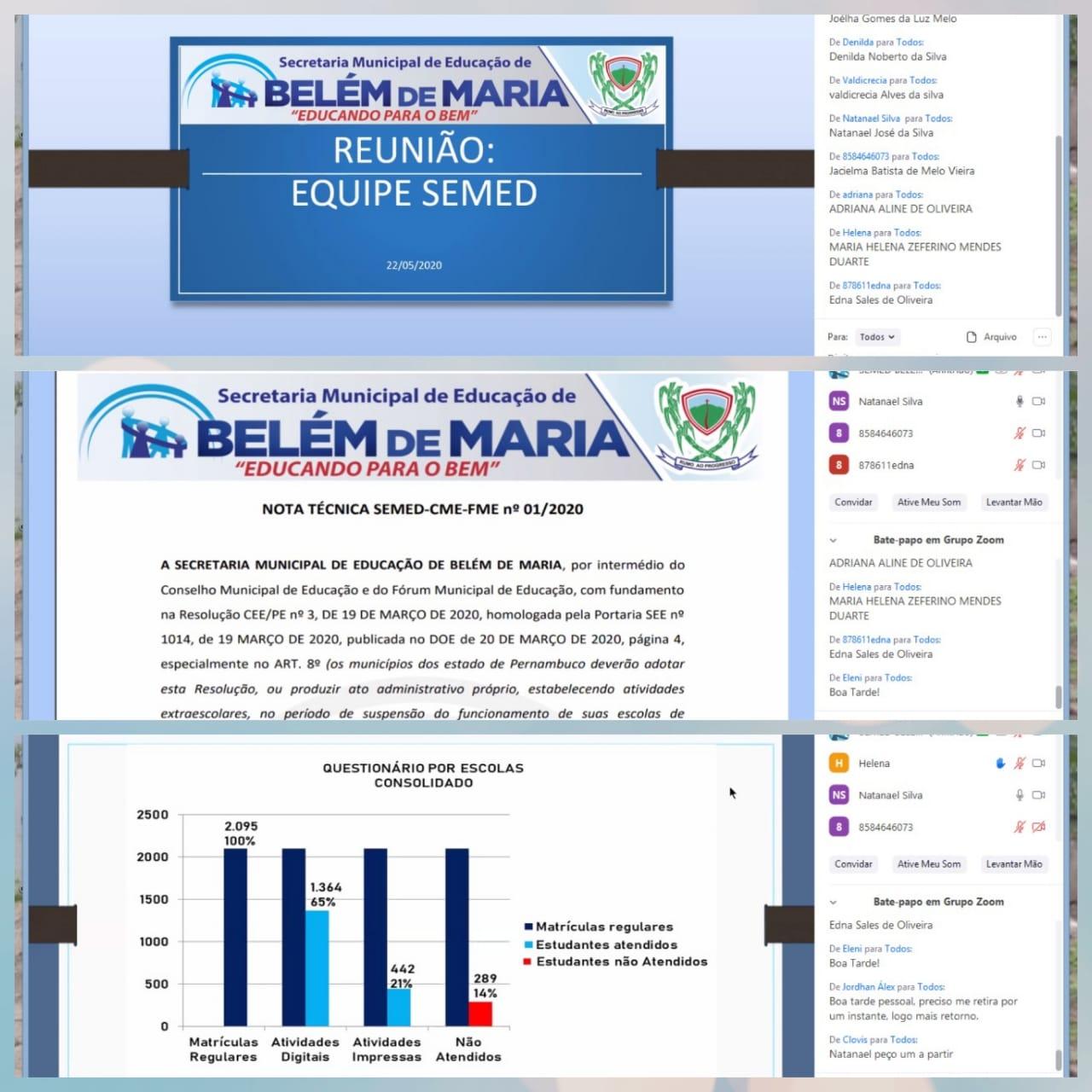 Semanalmente a Secretaria de Educação de Belém de Maria realiza web conferência com os gestores, coordenadores pedagógicos e secretários escolares