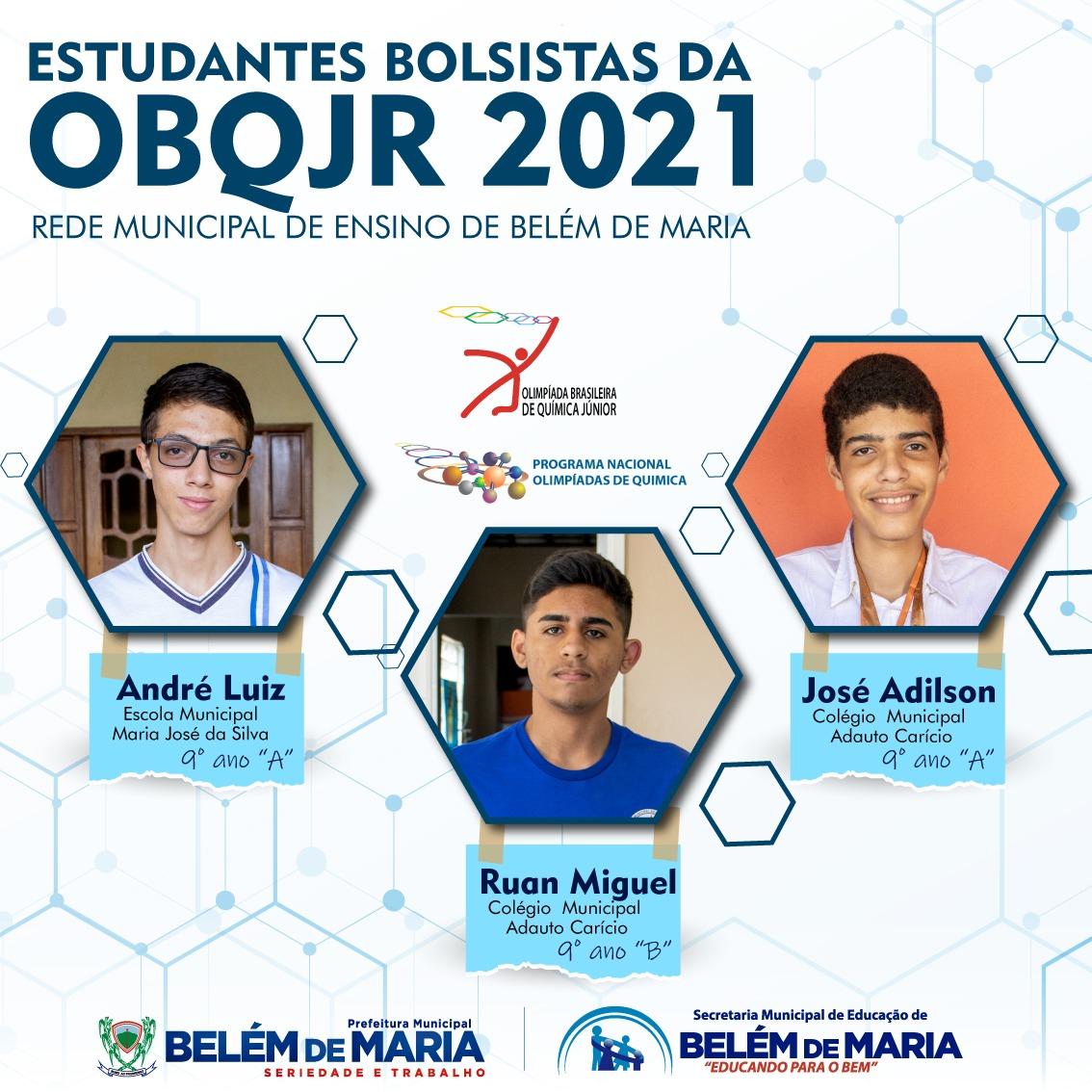 Estudantes da Rede Municipal de Ensino de Belém de Maria são selecionados na OBQJr e receberão bolsa de estudo